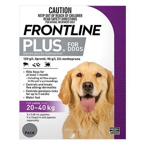 Frontline Plus Large Dogs 20-40 Kg Purple 3 Pipettes