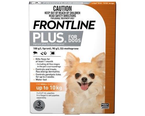 Frontline Plus Pack of 3 Dog 0-10kg Small Orange