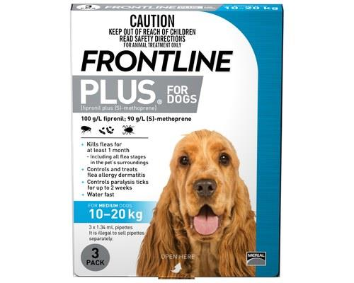 Frontline Plus Pack of 3 Dog 10-20kg Medium Blue