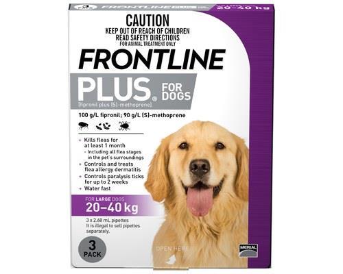 Frontline Plus Pack of 3 Dog 20-40kg Large Purple