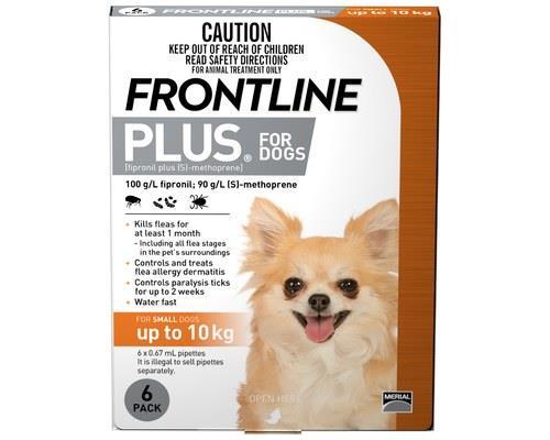 Frontline Plus Pack of 6 Dog 0-10kg Small Orange