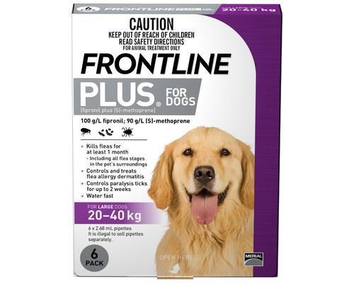 Frontline Plus Pack of 6 Dog 20-40kg Large Purple