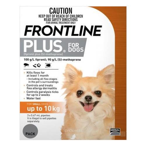 Frontline Plus Small Dogs 0-10Kg Orange 3 Pipettes