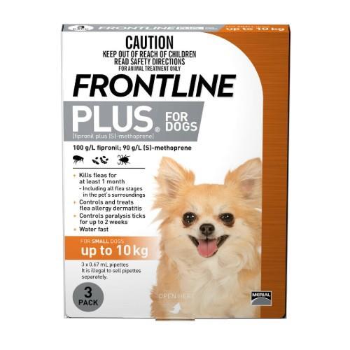 Frontline Plus Small Under 10kg Orange 3 pack