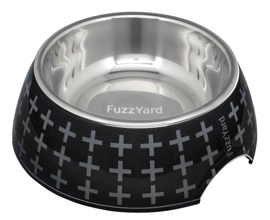 FuzzYard Dog Bowl Yeezy Black With Grey Crosses Large