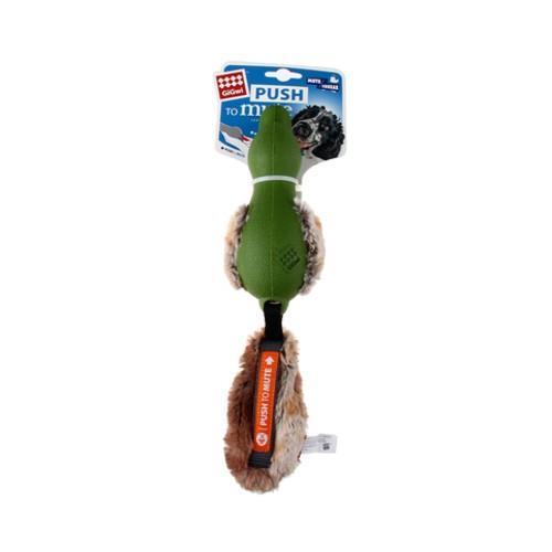 GiGwi Push To Mute Plush Tail Duck Green
