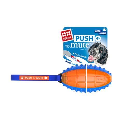 GiGwi Push To Mute Rugby Ball Blue/Orange