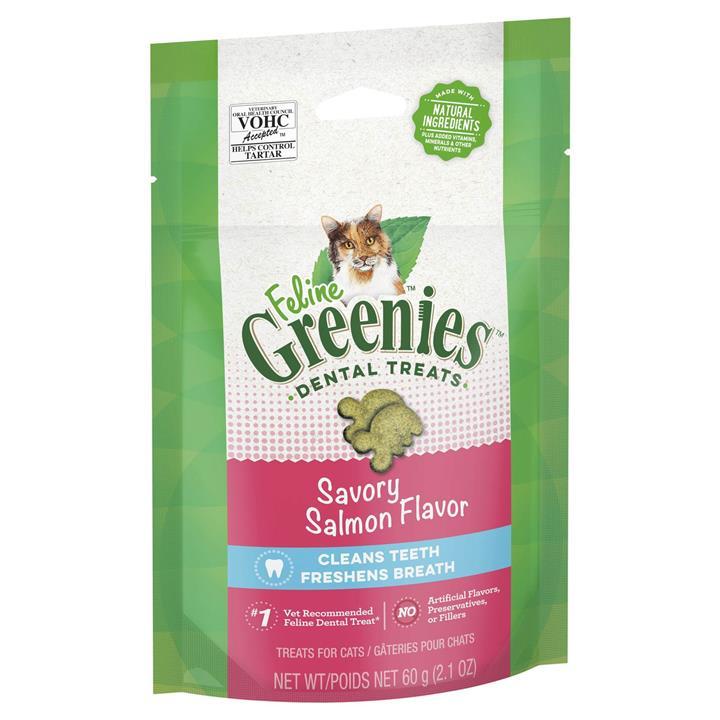 Greenies Feline Cat Dental Treats Savory Salmon Flavor 60g