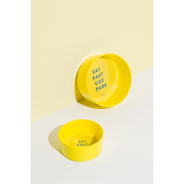 Gummi Eat Fast Coz Park Yellow Melamine Dog Bowl