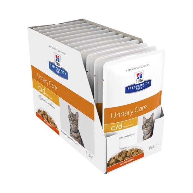 Hills Prescription Diet Cd Chicken Pouches Wet Cat Food 12 X 85g