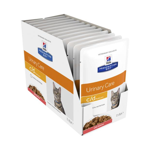 Hills Prescription Diet Cd Salmon Pouches Wet Cat Food 12 X 85g