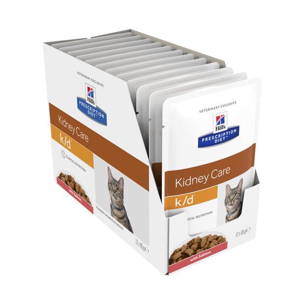 Hills Prescription Diet Kd Salmon Pouches Wet Cat Food 12 X 85g