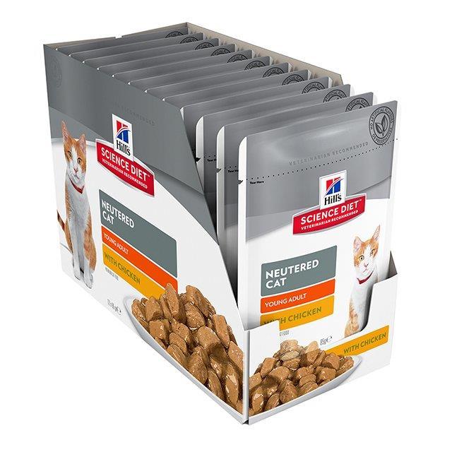 Hills Science Diet Adult Cat Food Neutered Chicken Pouches 12x85g
