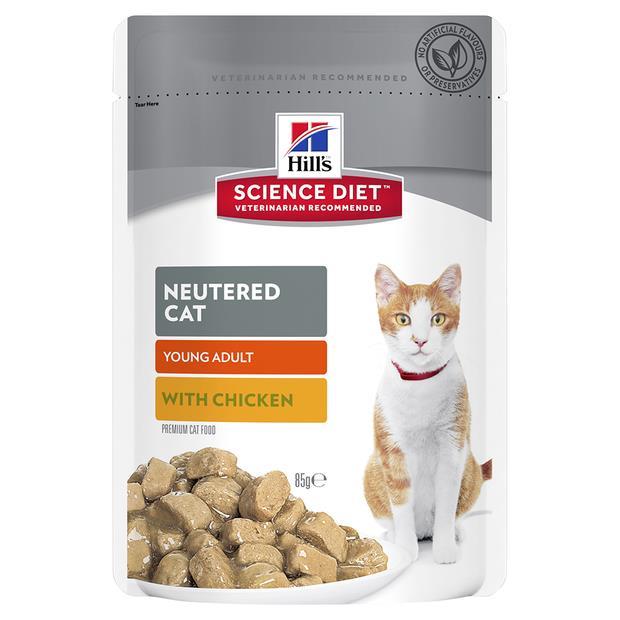 Hills Science Diet Adult Cat Neutered Chicken Wet Pouches 12 X 85g