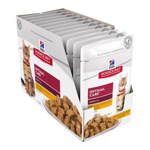 Hills Science Diet Adult Cat Optimal Care Chicken Pouches 12x85g