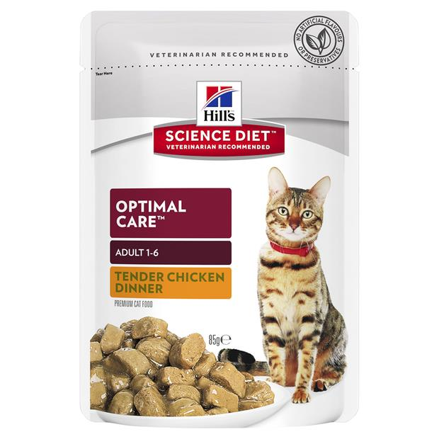 Hills Science Diet Adult Cat Optimal Care Chicken Wet Pouches 12 X 85g