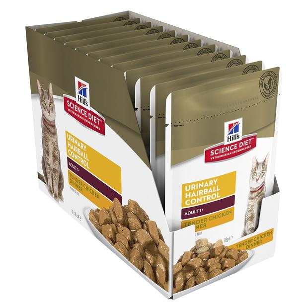 Hills Science Diet Adult Cat Urinary Hairball Chicken Wet Pouches 12 X 85g
