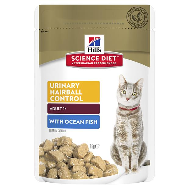 Hills Science Diet Adult Cat Urinary Hairball Ocean Fish Wet Pouches 12 X 85g