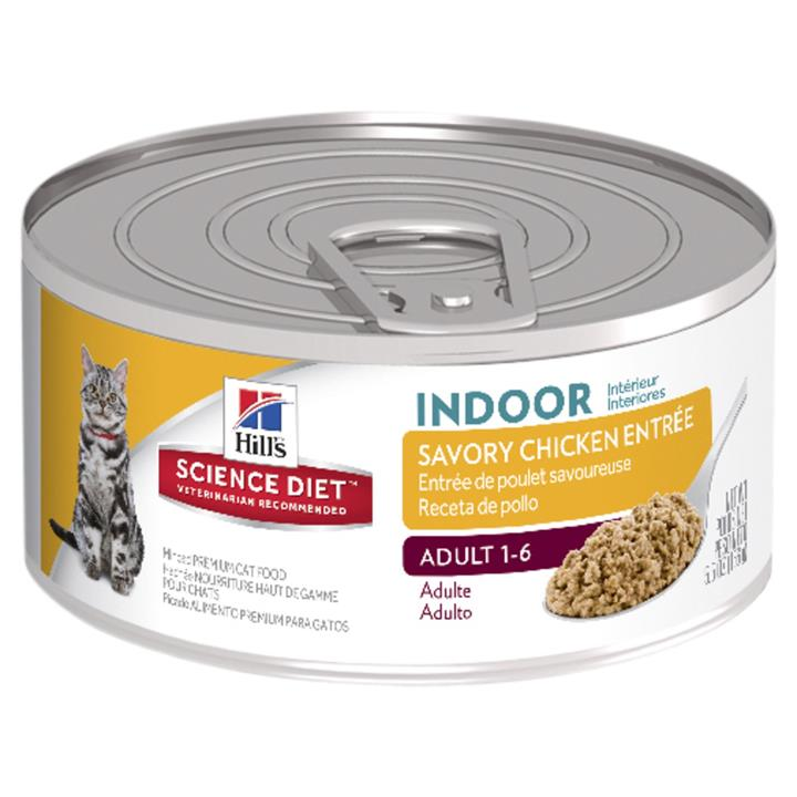Hills Science Diet Adult Indoor Savory Chicken Entre Cat Food 156g x 24 Cans