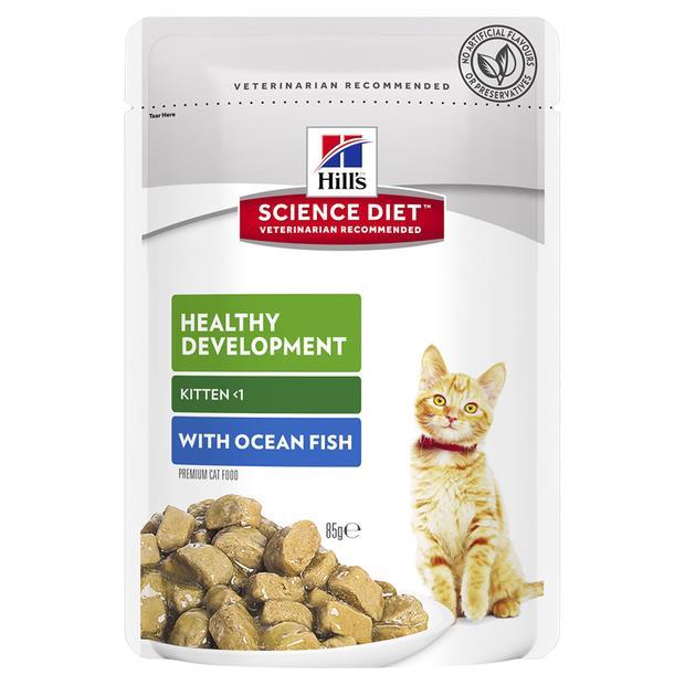 Hills Science Diet Kitten Ocean Fish Wet Pouches 12 X 85g