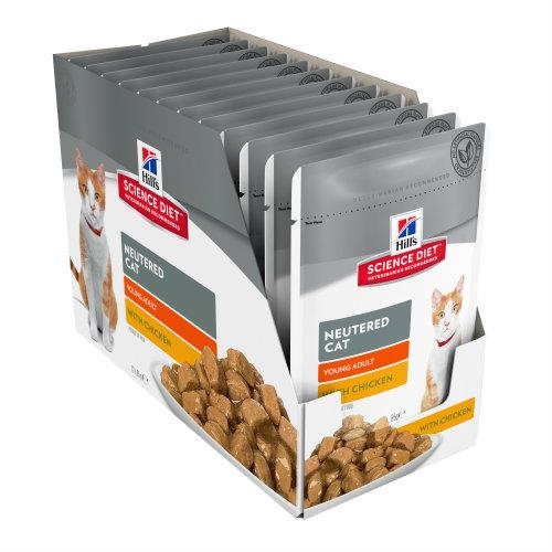 Hills Science Diet Young Adult Neutered Cat Chicken Pouches 12x85g