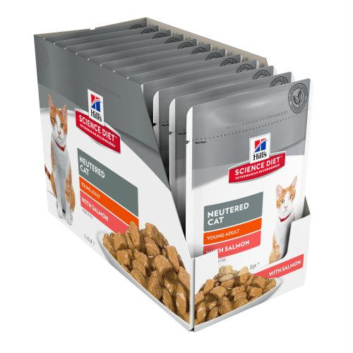 Hills Science Diet Young Adult Neutered Cat Salmon Pouches 12x85g