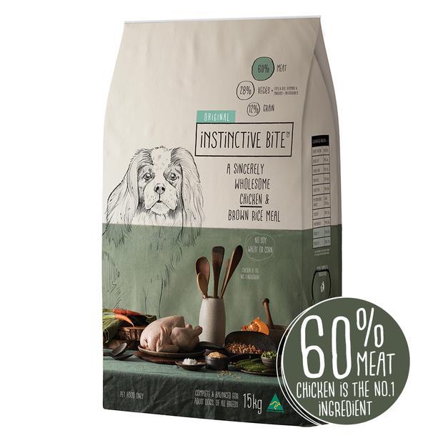 Instinctive Bite Original Adult Dry Dog Food Chicken Brown Rice 15kg
