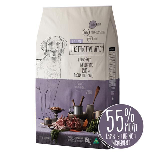 Instinctive Bite Original Adult Dry Dog Food Lamb Brown Rice 15kg