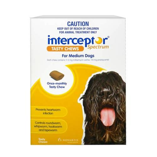 Interceptor Spectrum Chews Medium 11-22kg Yellow 6 pack