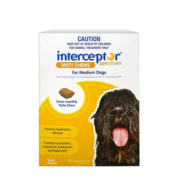 Interceptor Spectrum Chews Medium Yellow 2 X 6 Pack