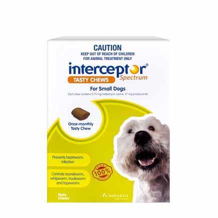 Interceptor Spectrum Tasty Chews for Small Dogs Pack of 6