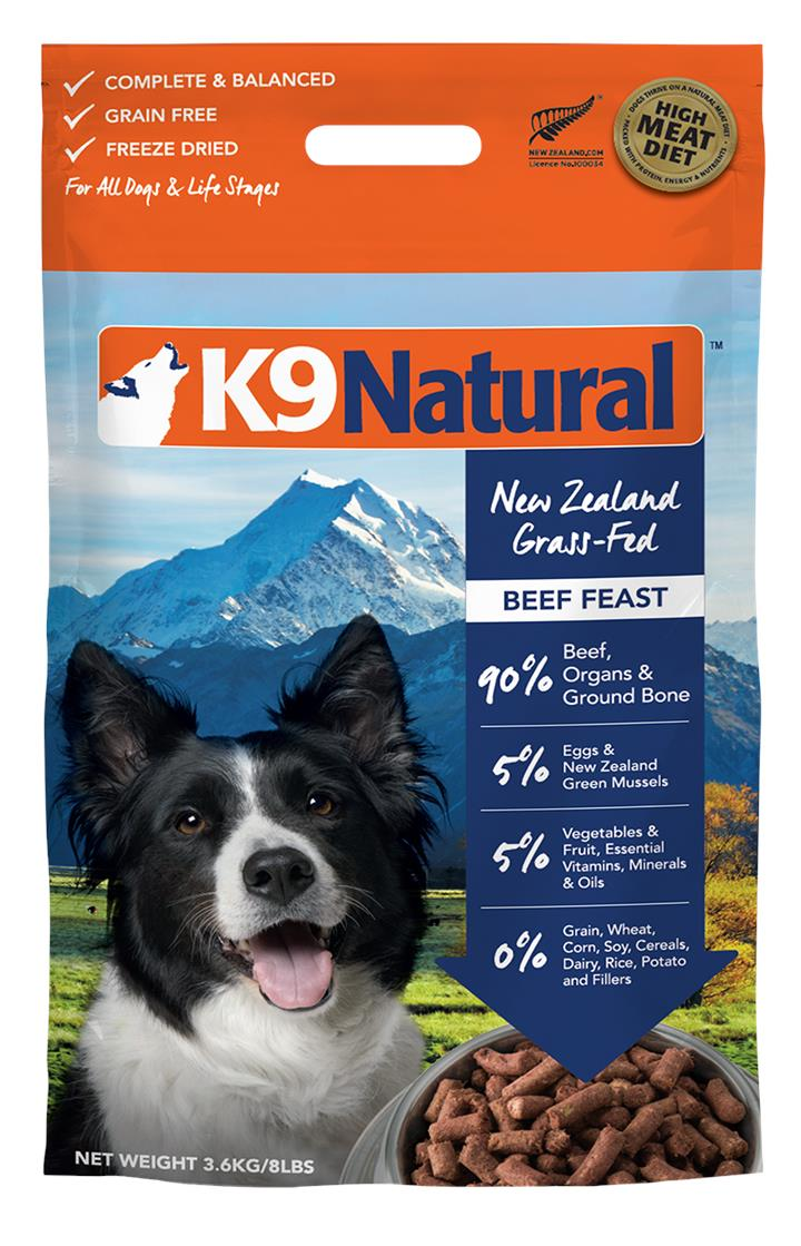 K9 Natural Freeze Dried Beef Dog Food 3.6kg