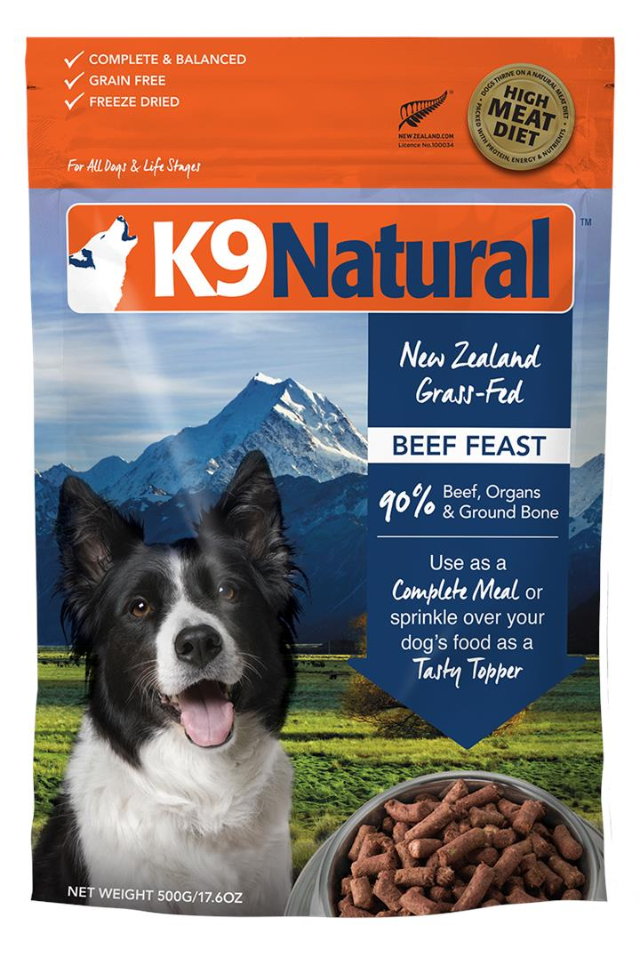 K9 Natural Freeze Dried Beef Dog Food 500g
