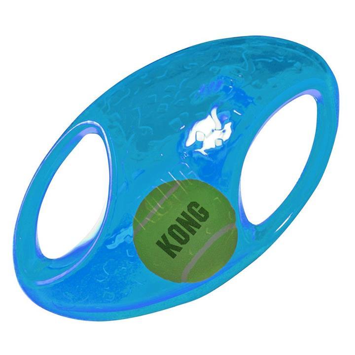 KONG Jumbler Rubber FootBall with Hidden Tennis Ball Dog Toy - Medium