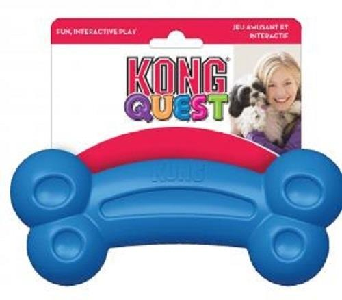 KONG Quest Bone Treat Hiding Interactive Rubber Dog Toy - Small