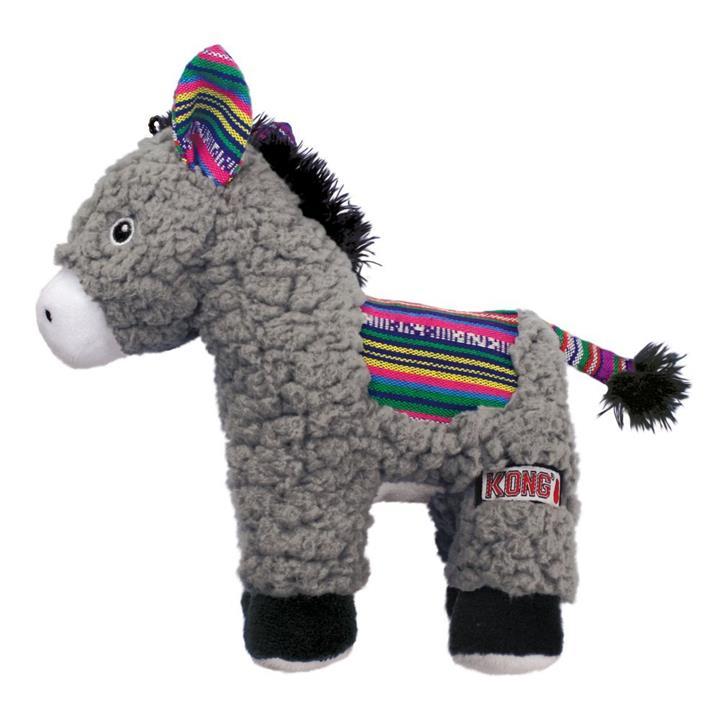 KONG Sherps Plush Multi-textured Squeaker Dog Toy - Donkey