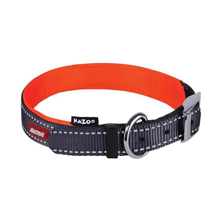 Kazoo Active Nylon Dog Collar Slate & Orange