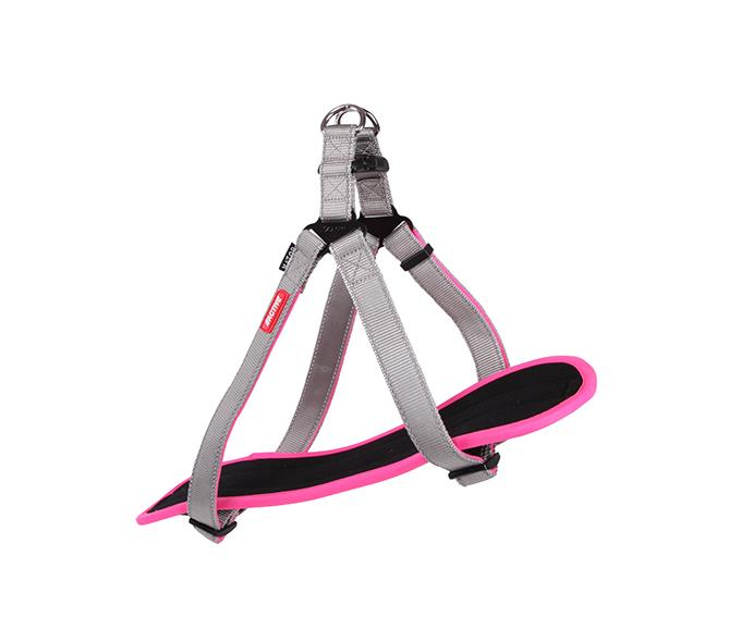 Kazoo Active Nylon Walking Dog Harness Silver & Pink