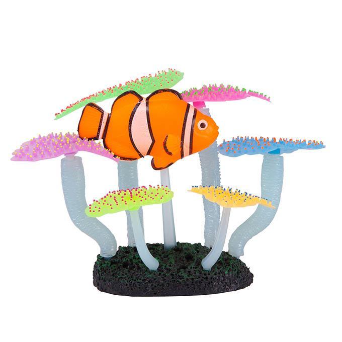 Kazoo Aquarium Silicone Plant Fluro Anemone With Clown Fish Medium