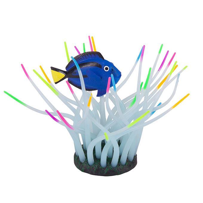 Kazoo Aquarium Silicone Plant Sea Anemone With Blue Tang Small