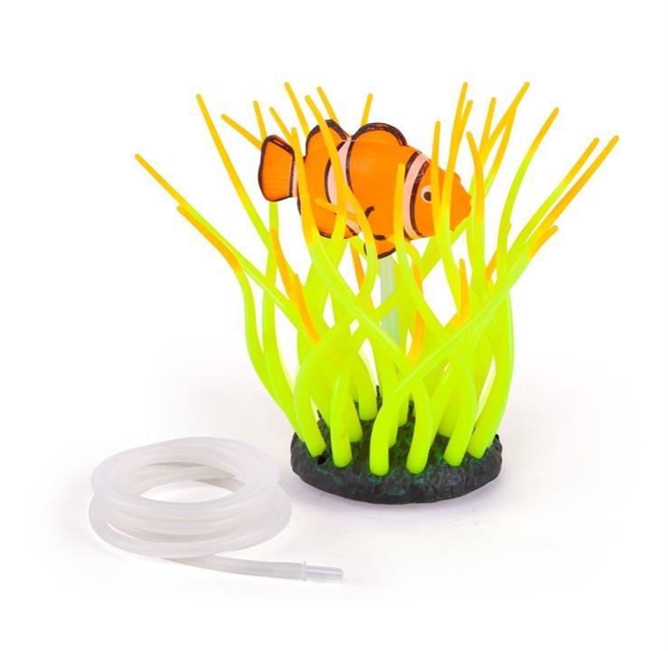 Kazoo Aquarium Silicone Plant Sea Anemone With Clown Fish & Air Medium