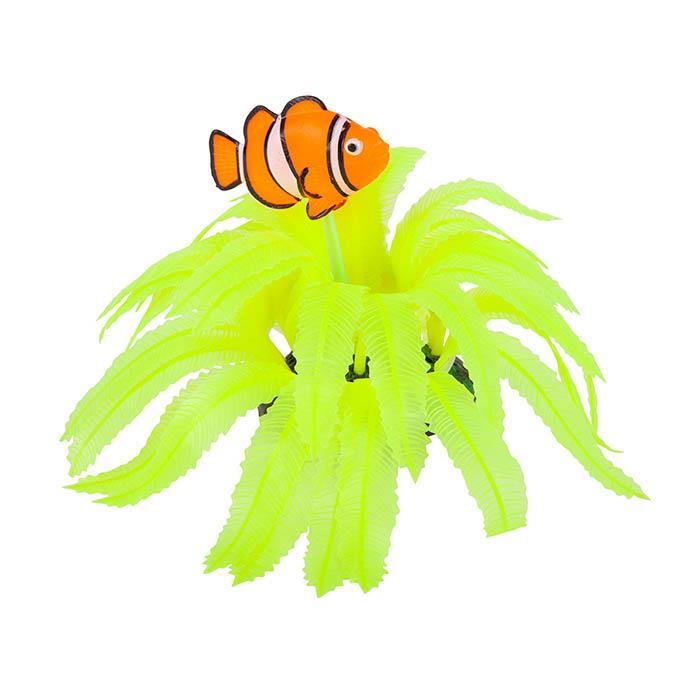Kazoo Aquarium Silicone Plant Yellow Fern With Clown Fish Medium