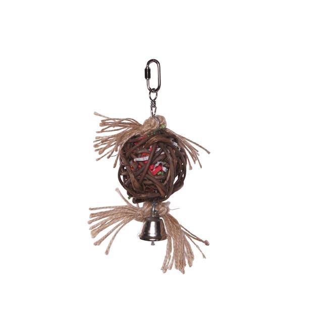 Kazoo Bird Toy Hanging Wicker Ball With Bell Medium