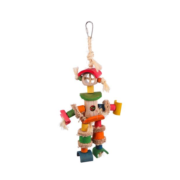 Kazoo Bird Toy Man With Sisal Rope And Chips Medium