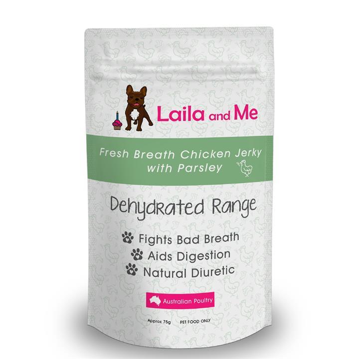 Laila & Me Dried Australian Chicken Breast & Parsley Fresh Breath Dog Treats 75g