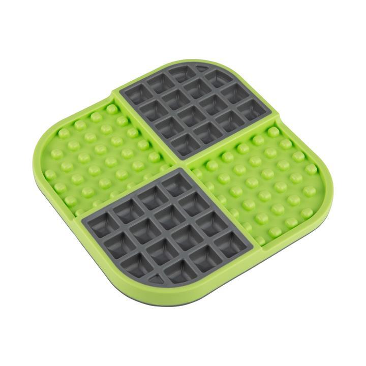 LickiMat Slomo Wet & Dry Double Slow Food Dog Bowl - Green