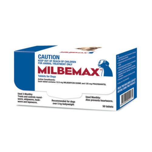 Milbemax Allwormer Dog Over 5kg 50 tablets