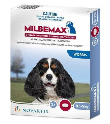 Milbemax Allwormer Dog Under 5kg 2 tablets