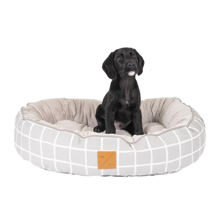 Mog & Bone 4 Seasons Circular Dog Bed Grey Check Medium