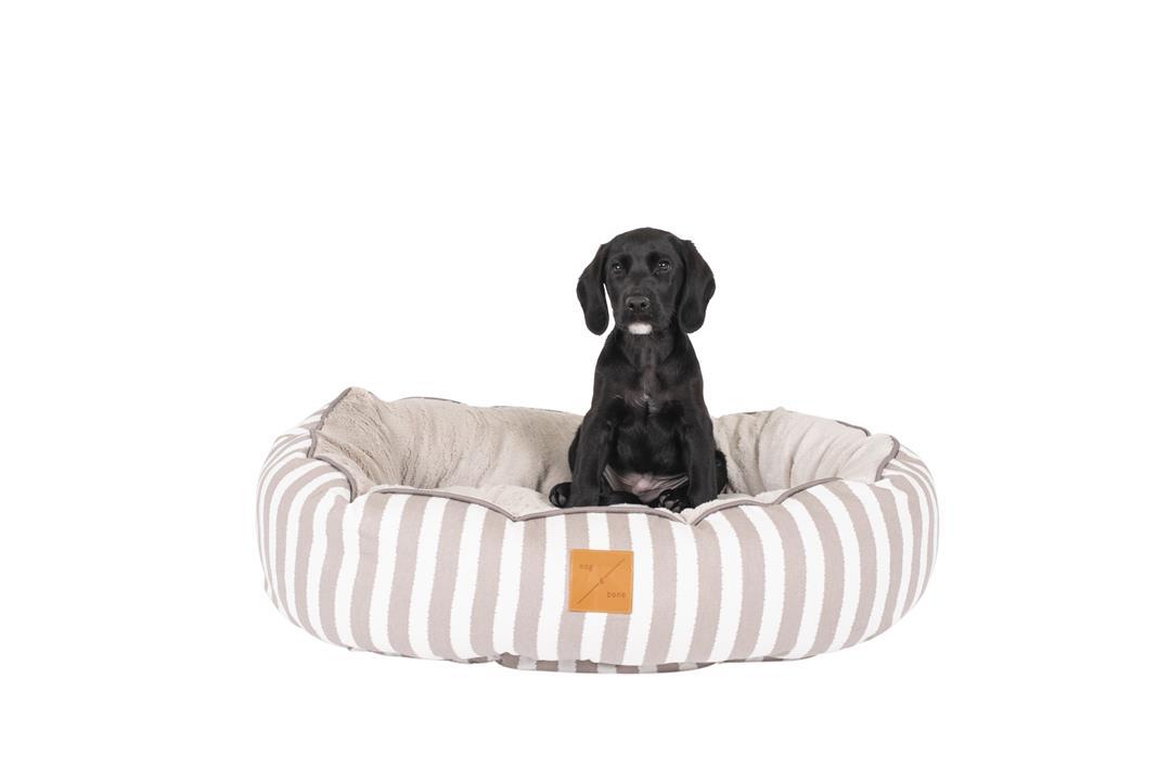 Mog & Bone 4 Seasons Circular Dog Bed Latte Hamptons Extra Large